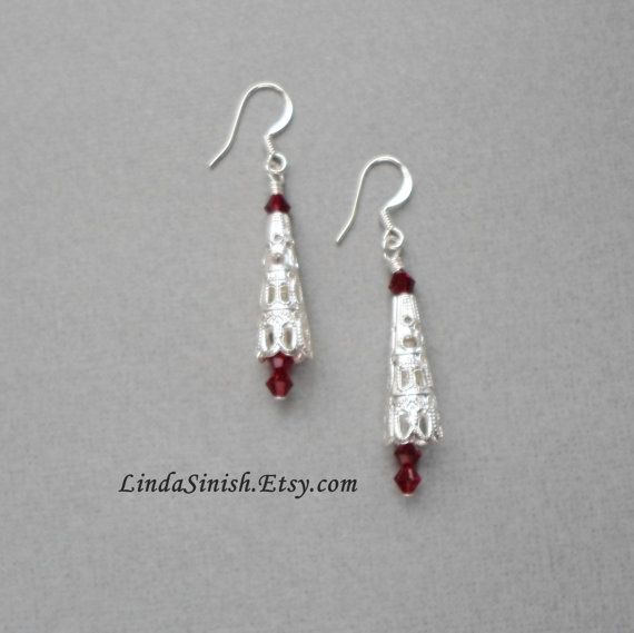 Christmas Earrings. Silver Filigree with Red Swarovski Crystals by LindaSinish on Etsy $9.00