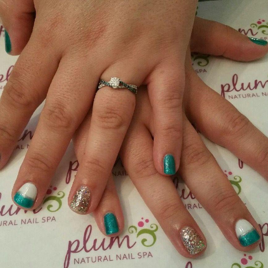Teal And White Mani With A Sparkle Accent For Fresh Nails Nailart Plumspa Plumspaaustin Atx Natural Nails Nail Spa Nail Art