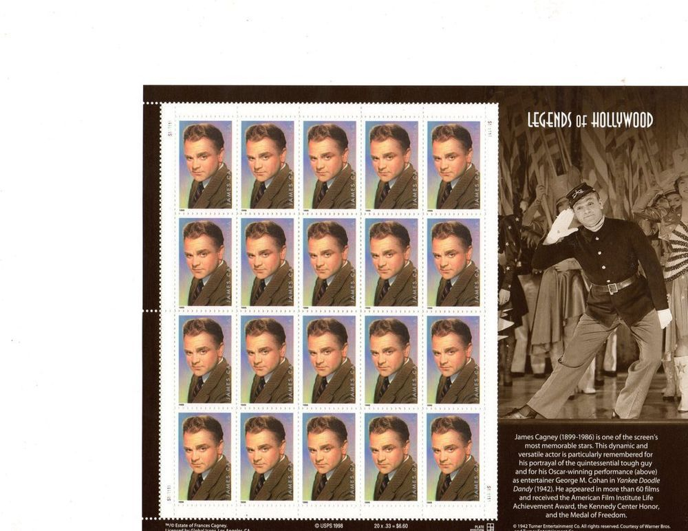 Mint Condition,Legends, James Cagney, Full 1998 Sheet of Stamps, NEW