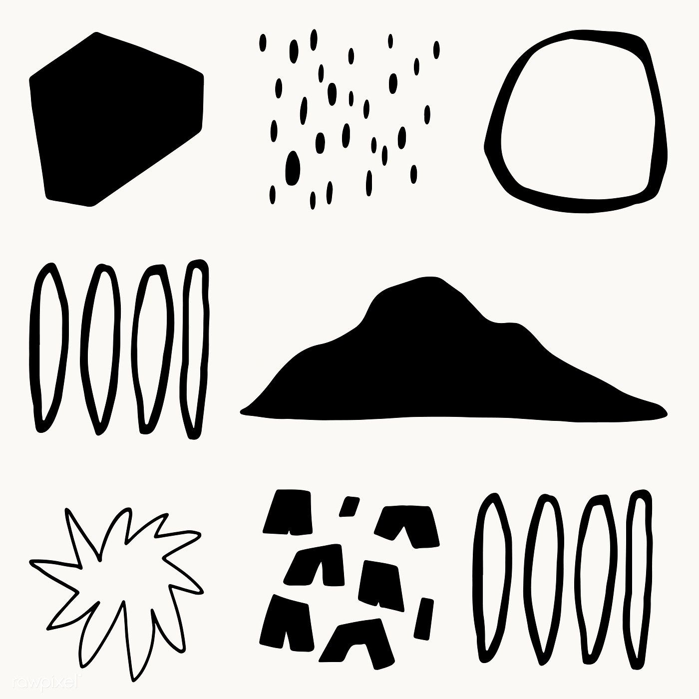 Download premium vector of Black and white design elements