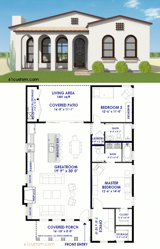 Small Spanish Contemporary House Plan 61custom Modern House Plans Contemporary House Plans Spanish Style Homes Modern House Plans