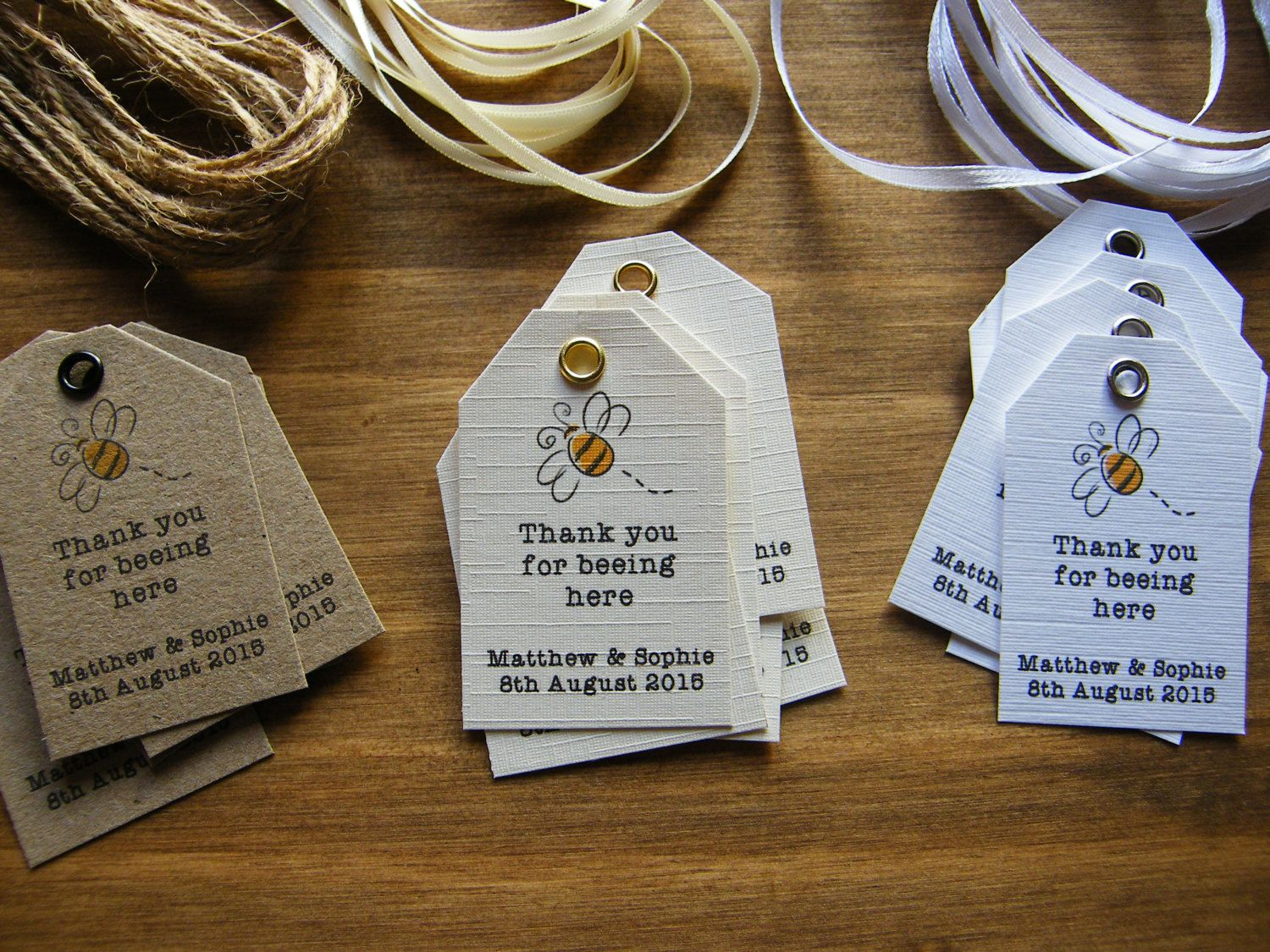 Personalised Wedding Favour Thank You For Beeing Here Tags