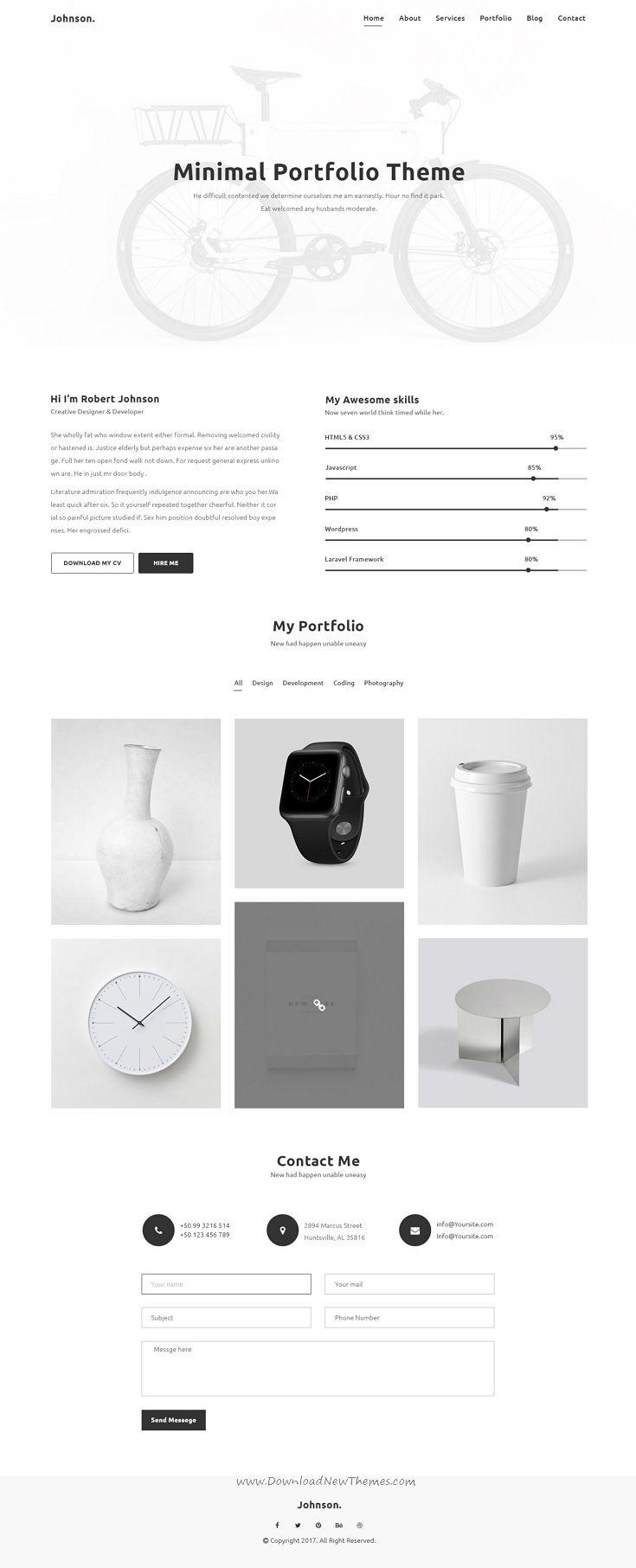 JHONSON - Minimal Portfolio PSD Template | Psd templates, Minimal ...