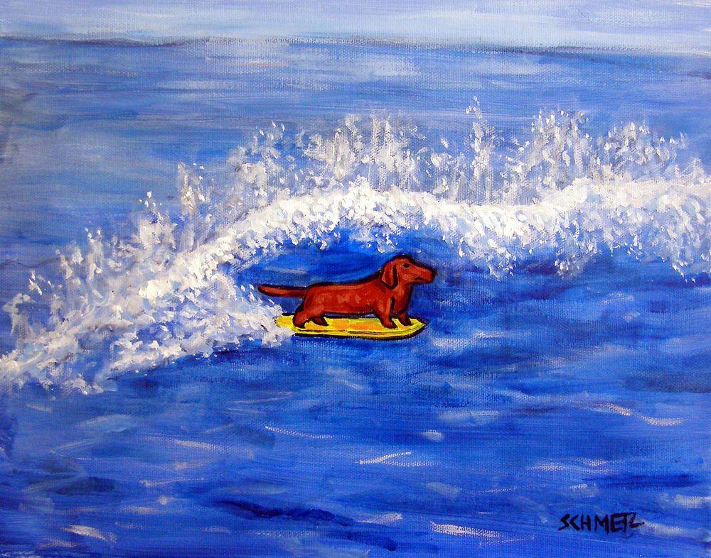 GREEN dachshund  art print animals impressionism gift new 8x10 artist