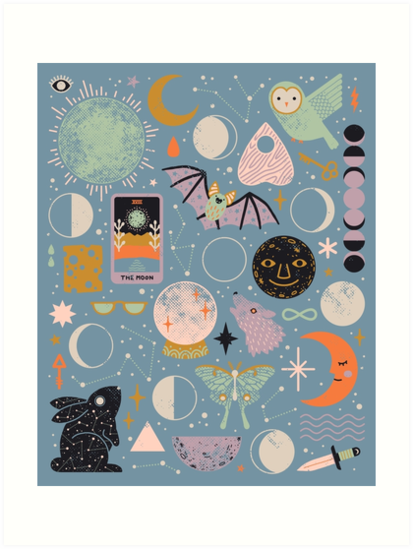 'Lunar Pattern: Blue Moon' Art Print by Camille Chew