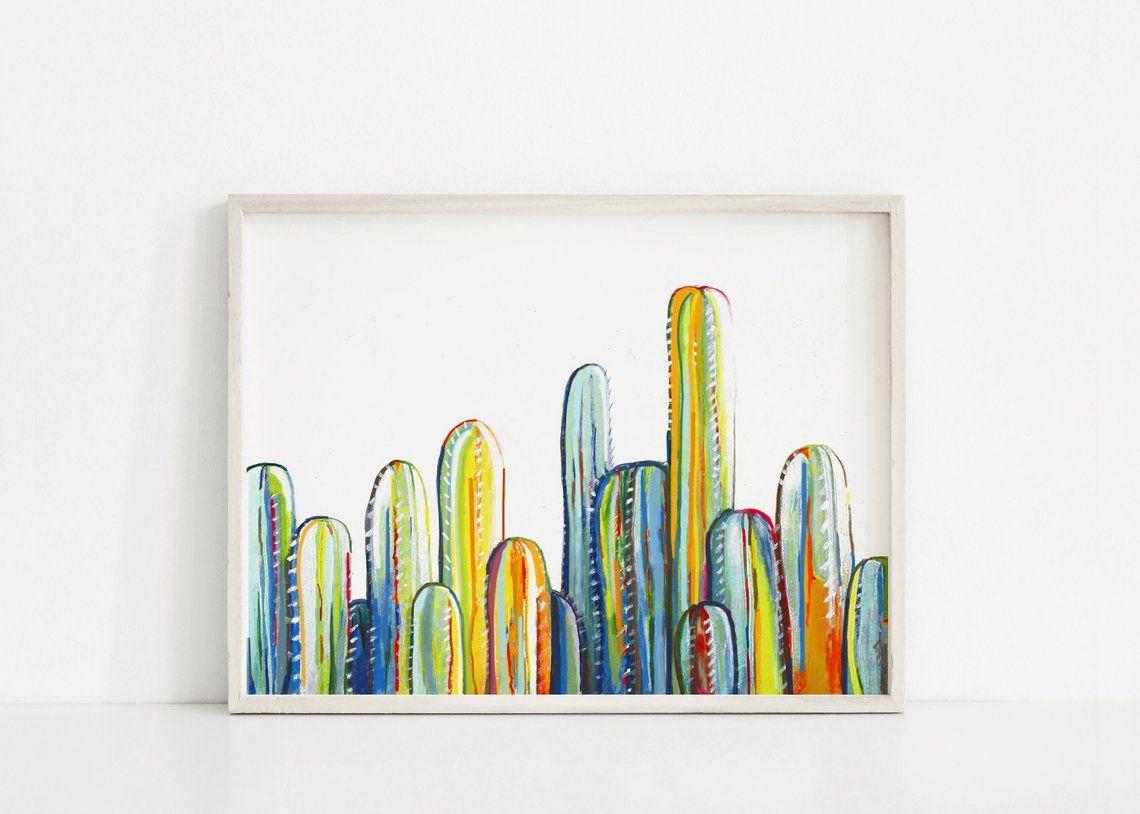 Cactus art print nursery art cacti wall art colorful