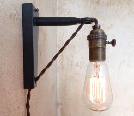 Wall Pendant Light: Hanging Pendant Wall Sconce. Retro Edison Lamp. Plug In