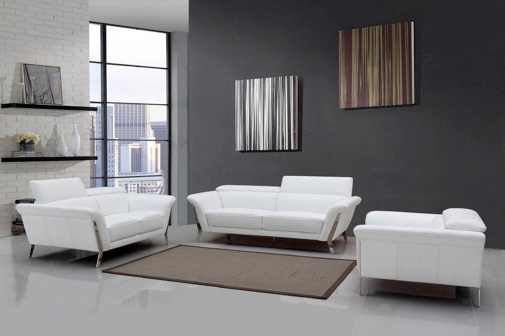 Modern White Leather Sofa Set   White leather sofa set