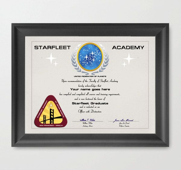 Star Trek Starfleet Academy Graduation Certificate  A Custom