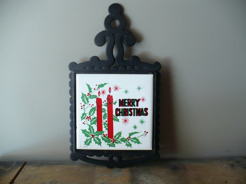 Christmas Joy Cast  2020 Cast Iron Trivet, Merry Christmas Tile Pot Holder, Vintage