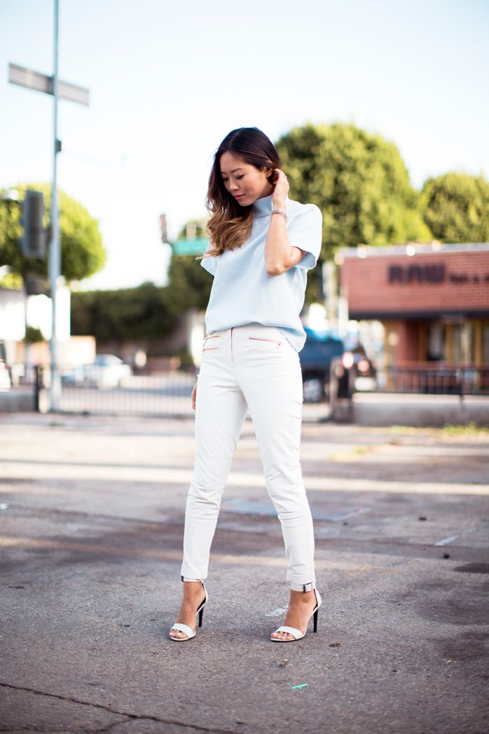 Camel Coat with White Leather Pants - Song of Style