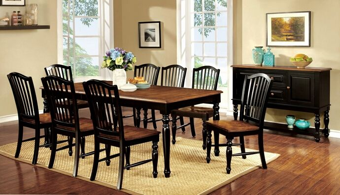 Ordinaire 7 Pc Mayville Collection Elegant Country Style Two Tone Black And Vintage  Oak Finish Wood Dining · Dining Room Table ...