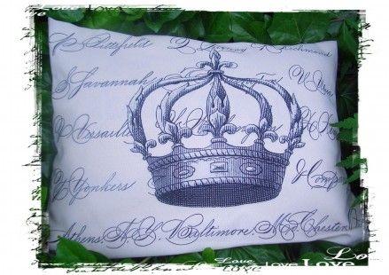 """Coussin esprit maison de campagne """"couronne"""""""