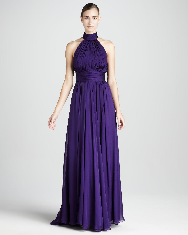Badgley Mischka Chiffon Halter Gown - Neiman Marcus | Great Dress ...