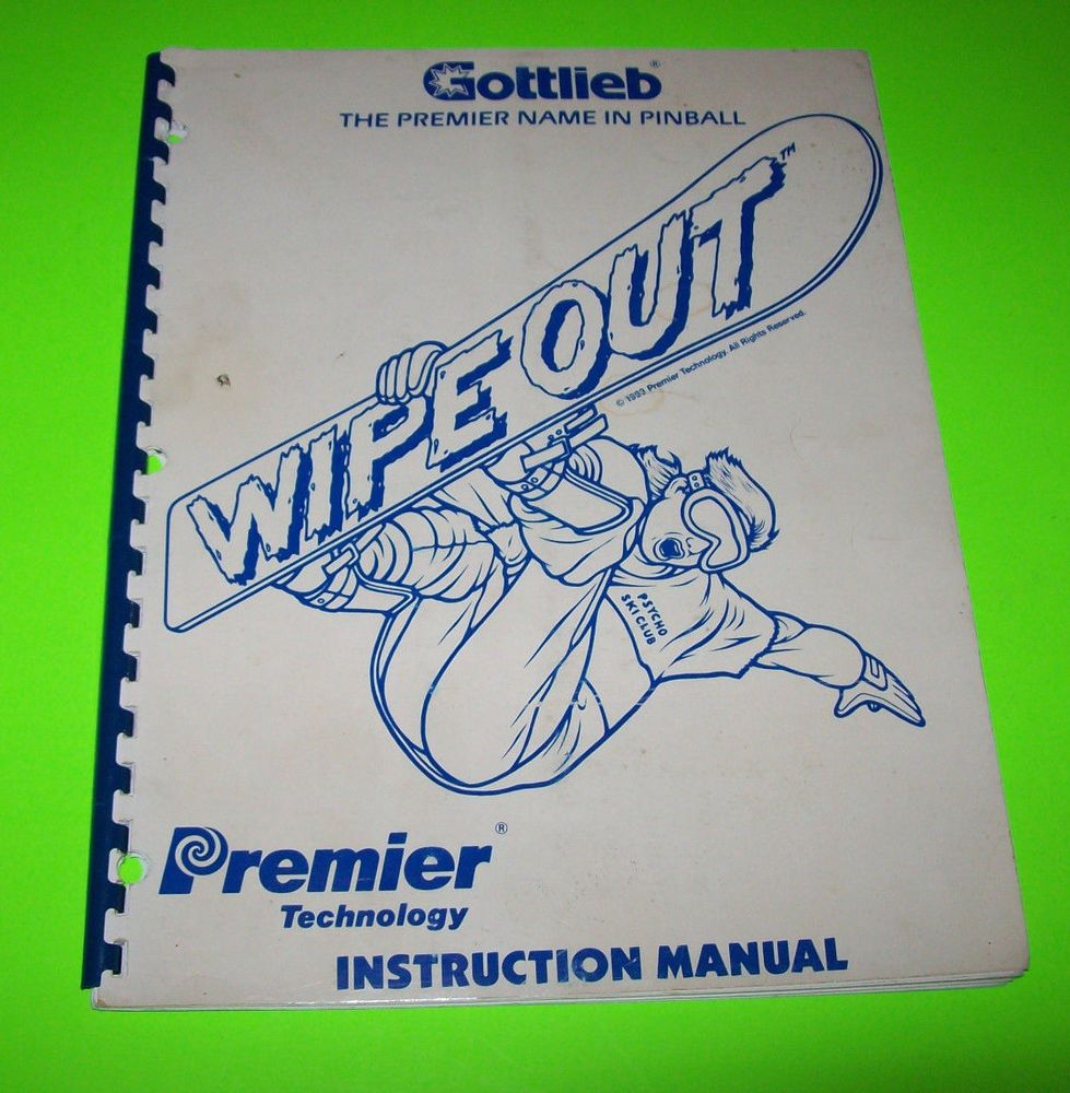 WIPE OUT By GOTTLIEB 1993 ORIGINAL PINBALL MACHINE SERVICE MANUAL w/ SCHEMATICS #gottliebpinball #wipeoutpinball