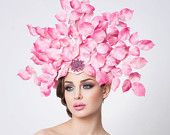 Avant Garde headpiece- Fashion hat-- Hot pink. $580.00, via Etsy.