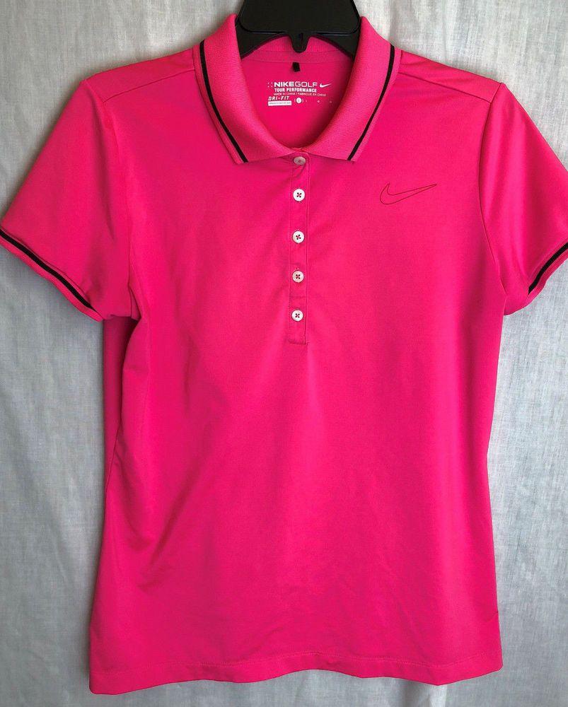 Nike drifit golf swoosh polo shirt size large womens pink