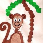 Footprint Monkey and Fingerprint Palm Tree
