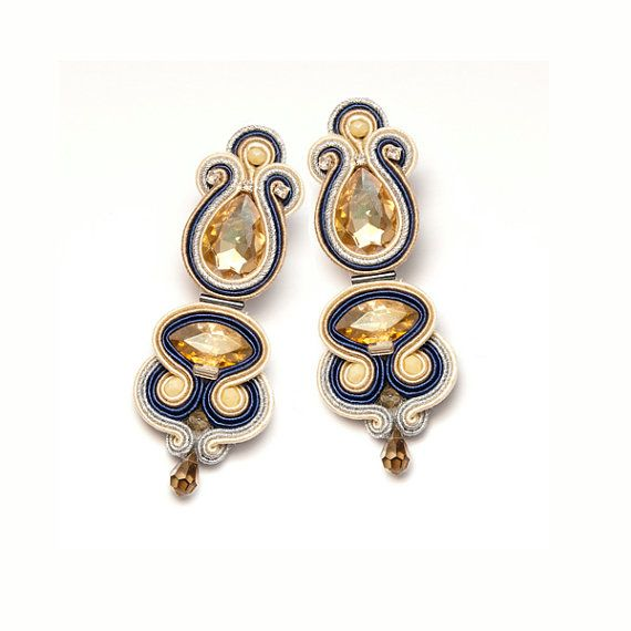 Statement gold crystal earrings studs in Art Nouveau by MANJApl