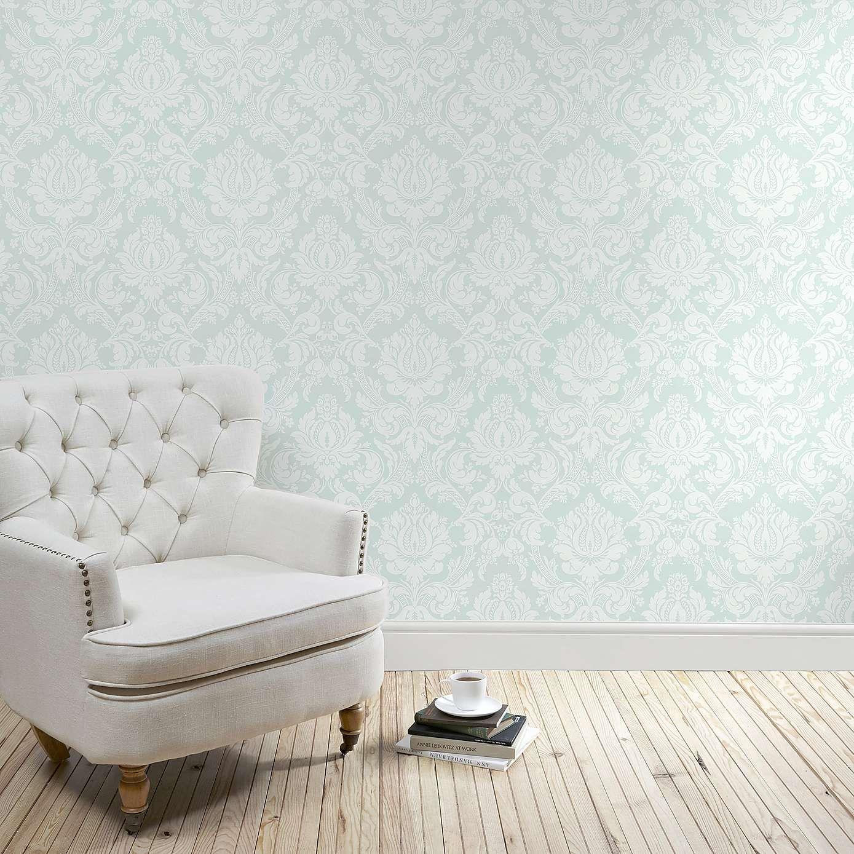 Duck Egg Vienna Damask Wallpaper Dunelm Grey Wallpaper Du