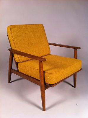 Charmant Vintage Mid Century Baumritter Lounge Chair With Gold Basket Weave  Upholstery