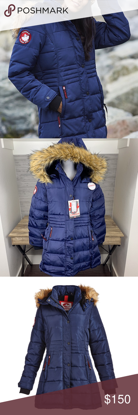 Canada Weather Gear Faux Fur Collar Puffer Coat Puffer Coat Faux Fur Collar Coats For Women [ 1740 x 580 Pixel ]