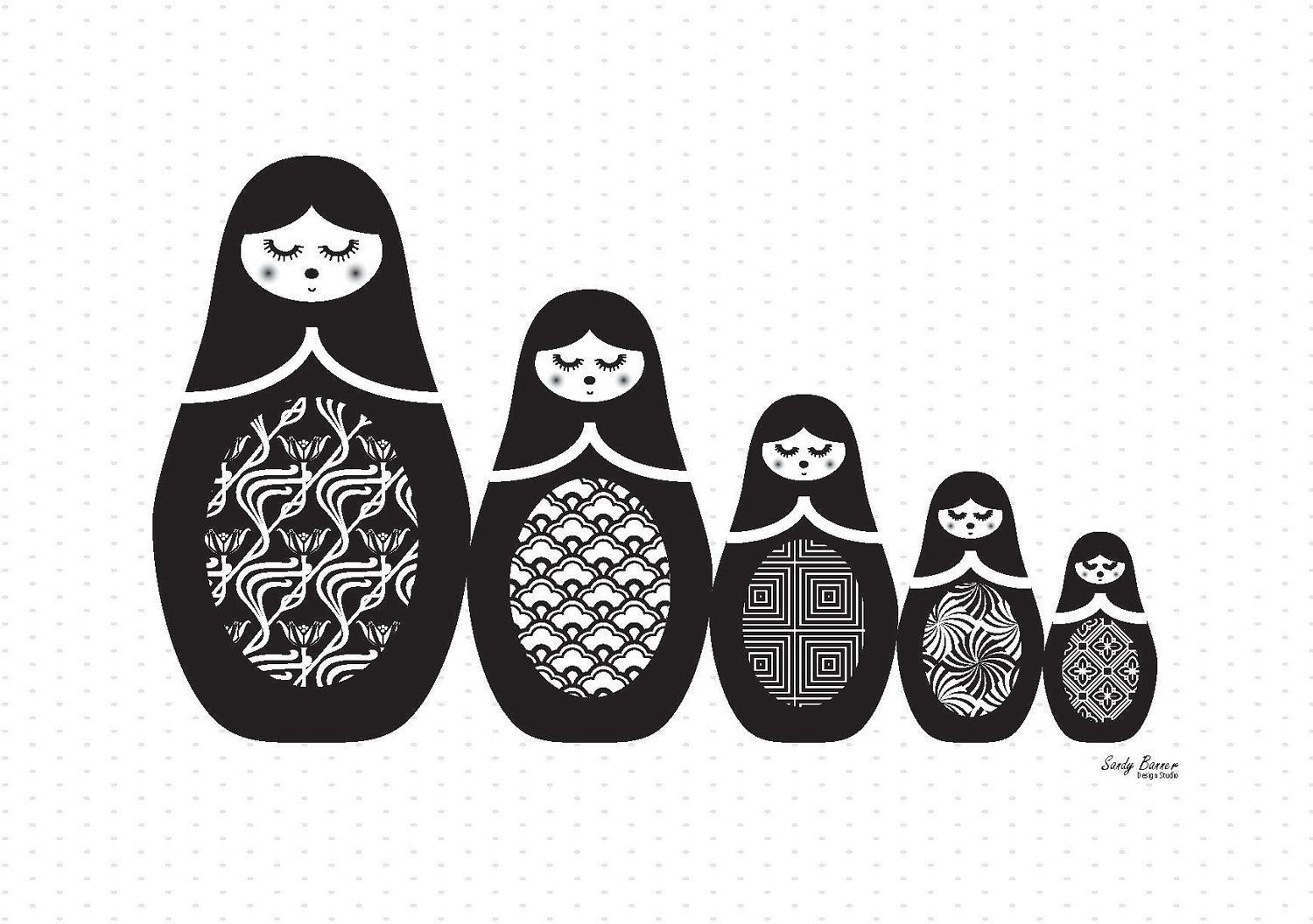 Black Baby Doll Tattoo: Russian Dolls 'all Lined Up' Print In Black & White 8x10