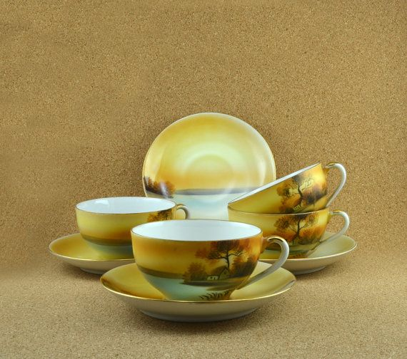 Set of Four Noritake Tree in the Meadow Cups and by TreasuryShop, $44.00