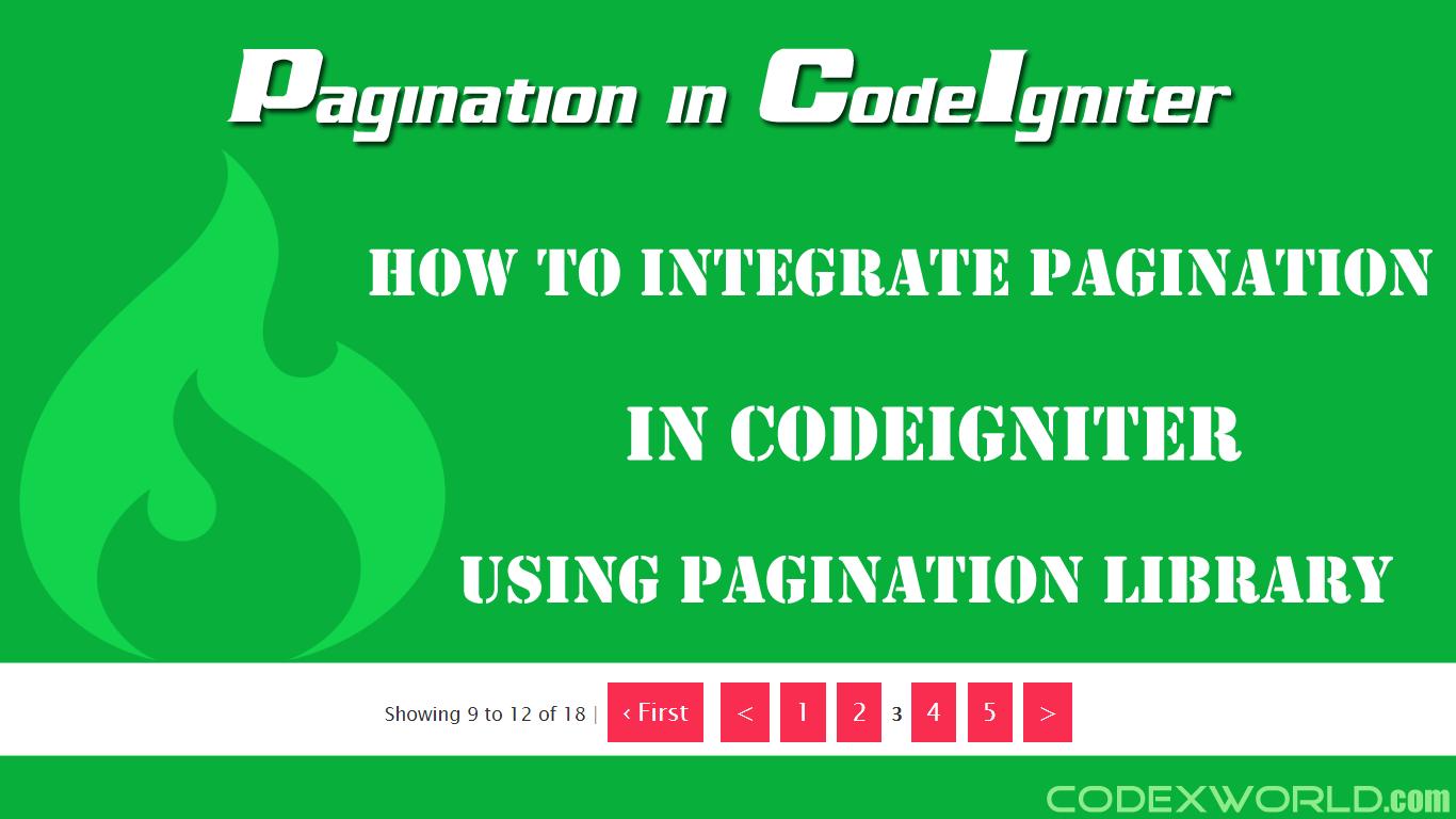 Pagination in CodeIgniter | CodeIgniter | Web development tutorial
