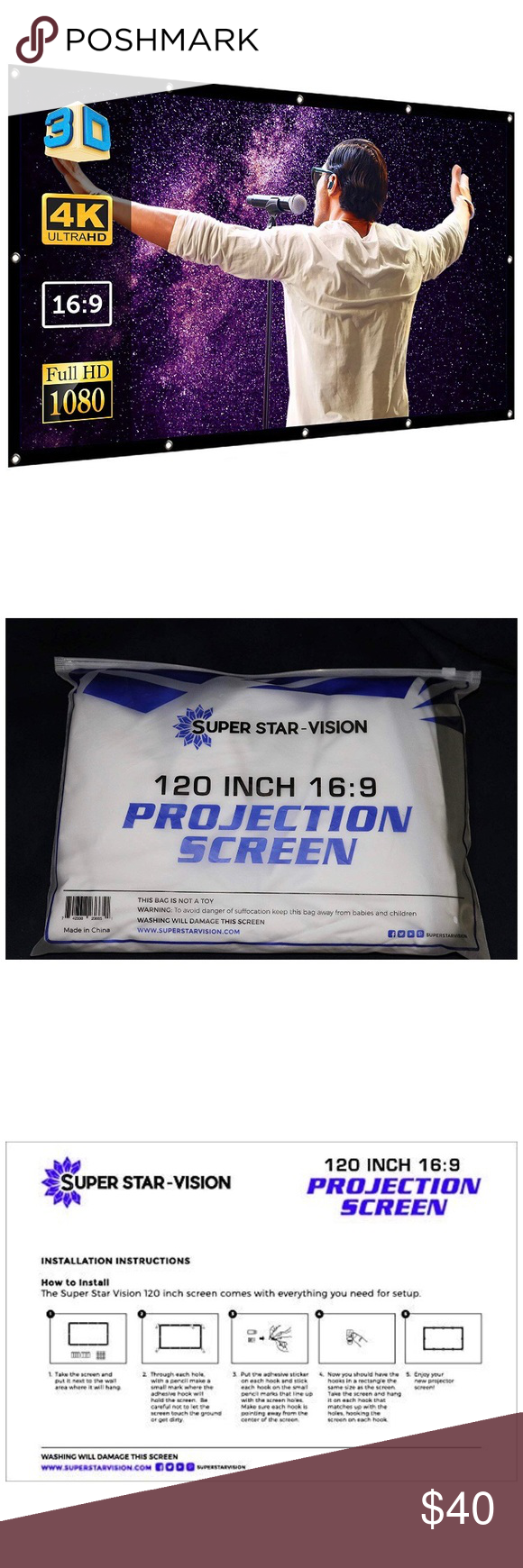 Portable Indoor Outdoor Projection Screen NEW! Portable