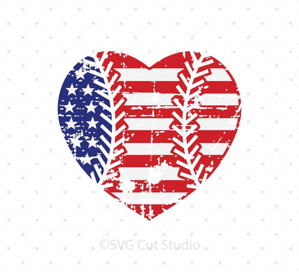Download Distressed Baseball Heart svg US flag svg Grunge baseball ...