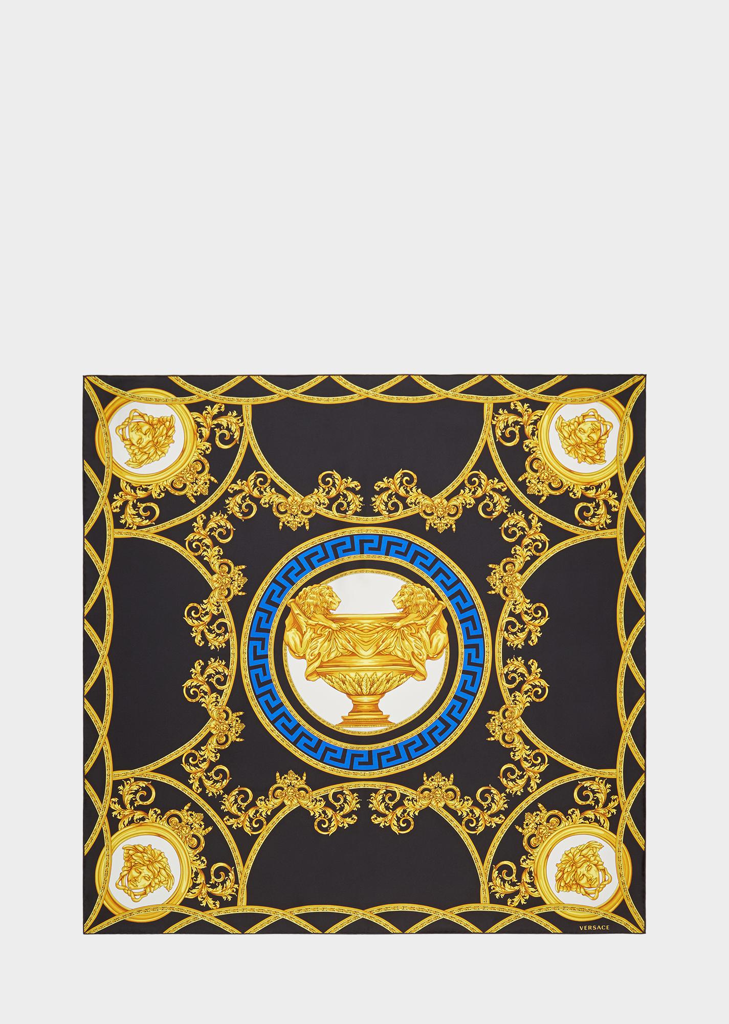 291ed7ccfad2 La Coupe Des Dieux Silk Foulard - Black Gold Foulards   Scarves Versace