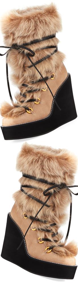 9d1329401743 Stuart Weitzman Nikita Mid-Calf Fur Wedge Boots