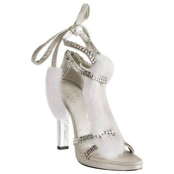 1380c2300507 Tom Ford for Gucci Silver Snake White Mink Leather Crystal Platform...  ( 1