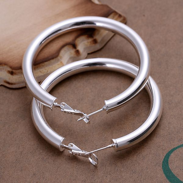 925 Sterling Silver Earrings Jewelry Plated Fashion 5mm Hollow