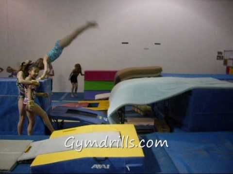 Bounce back handspring over table off mini tramp! - YouTube