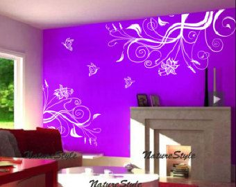 Nursery Wall Decal Vinyl Wall Decals Flower Wall Sticker Decal - Vinyl wall decals butterflies