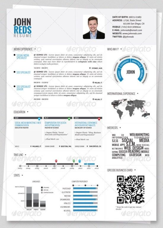Clean Infographic Resume Vol 2 Cover Letter. Creative Resume