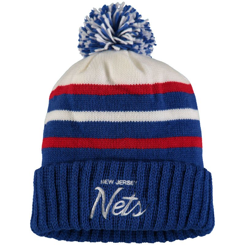 455b6196fdb330 New Jersey Nets Mitchell & Ness Color Block Special Script Cuffed Knit Hat  with Pom - Royal