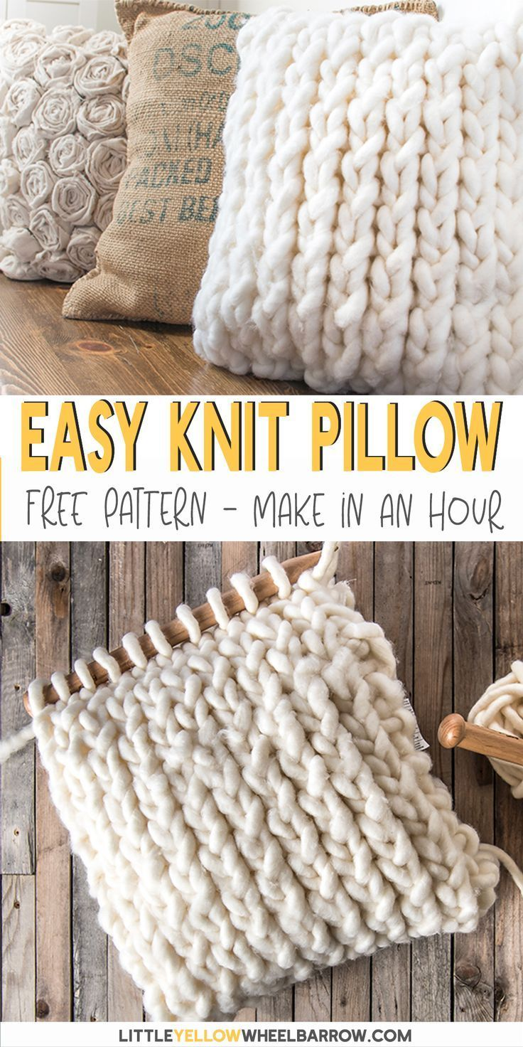 You can pull this easy knit pillow cover  together in under an hour. This is the perfect project for a beginning knitter. No difficult stitches, or counting rows! If you can knit and purl you're already there.  This easy knitting project is great to perk up old cushions or even to make as a DIY gift. If you're a new knitter and want a fun yarn project, this knitting pattern is for you! #diy #knitting #pillows #homedecor #pattern #tutorial #littleyellowwheelbarrow