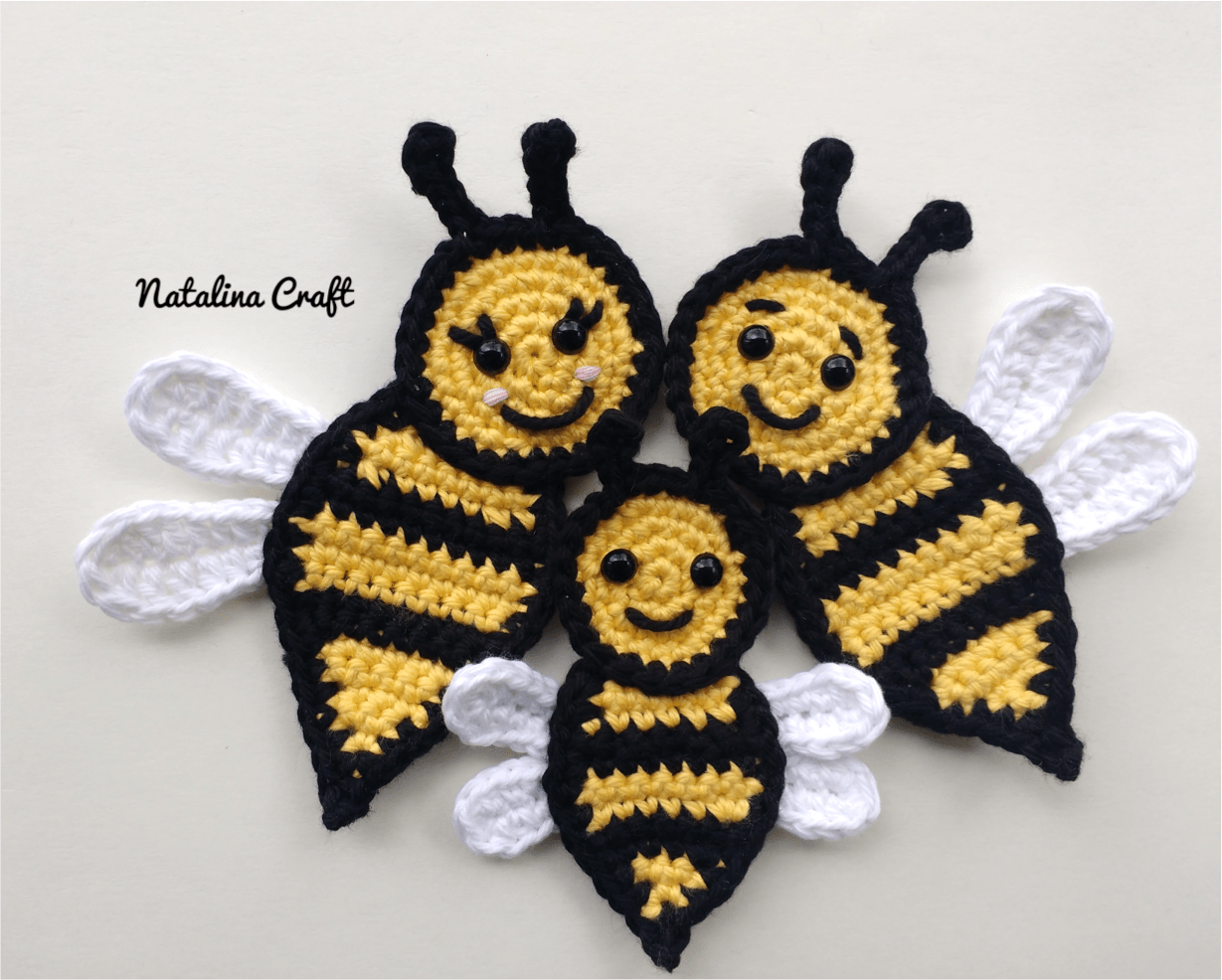 Free crochet pattern: Appliques - Bee (family of bees ...