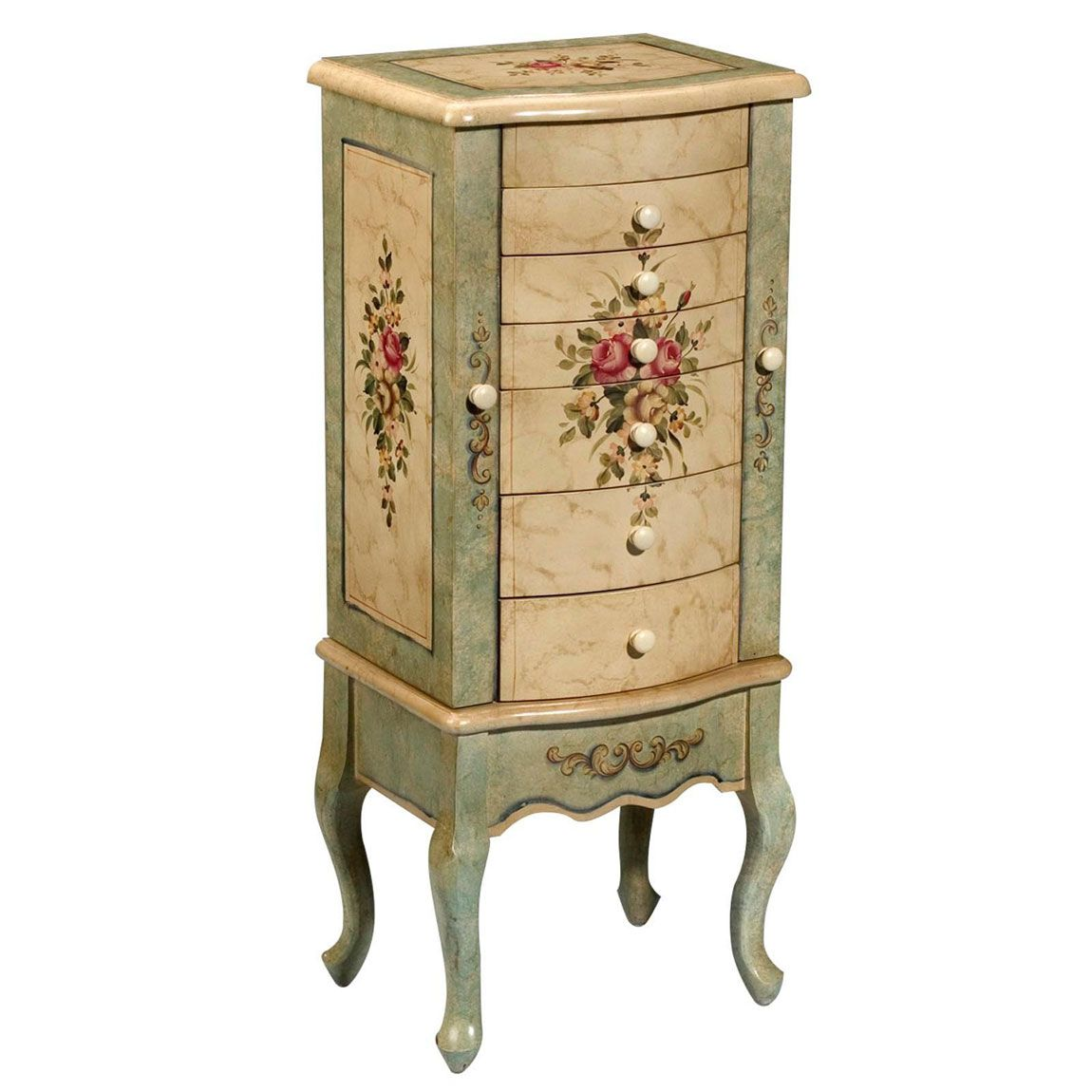 floral painted jewelry armoire design | Jewelry Armoires | Pinterest ...