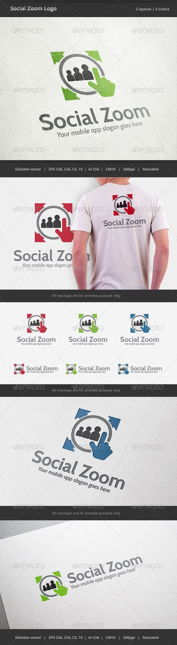 Soical Zoom Mobile Logo Abstract Logo Design Template