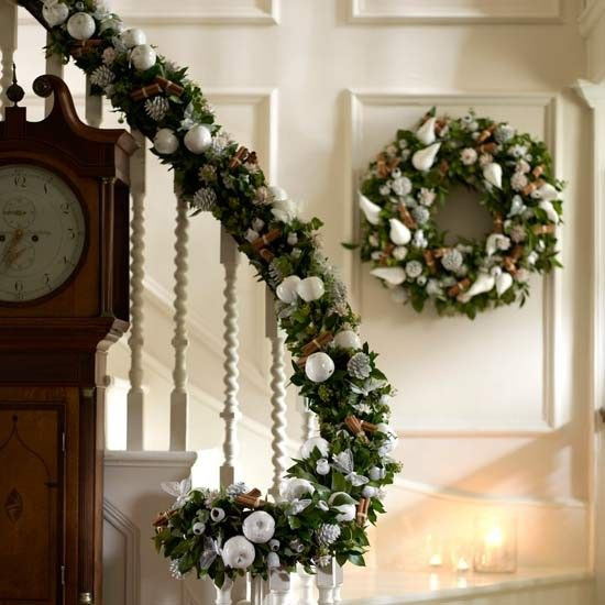 Christmas Decorations Staircase Banister Idea Check out deck railing ideas  at http://awoodrailing