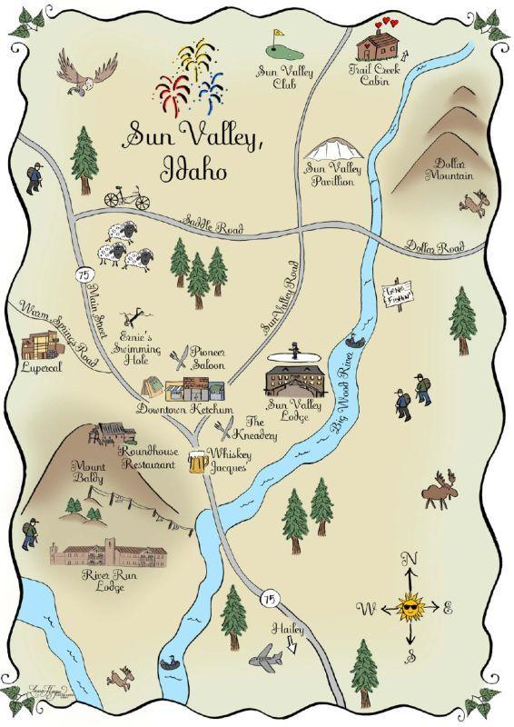 Sun Valley Idaho Map Maps} Sun Valley, Idaho | Laura Hooper Calligraphy | Sun valley