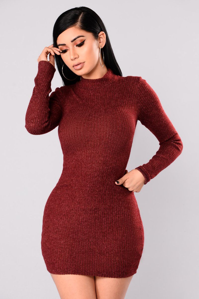 84e27ba22bca Soft Side Sweater Dress - Burgundy