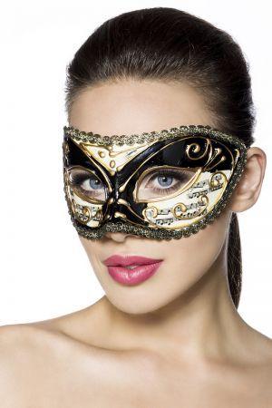 Maske Schöne Maske in tollem Noten-Design Ideal für einen Maskenball, Fasching oder Karneval Wird mit Satinbändern variabel umgebunden