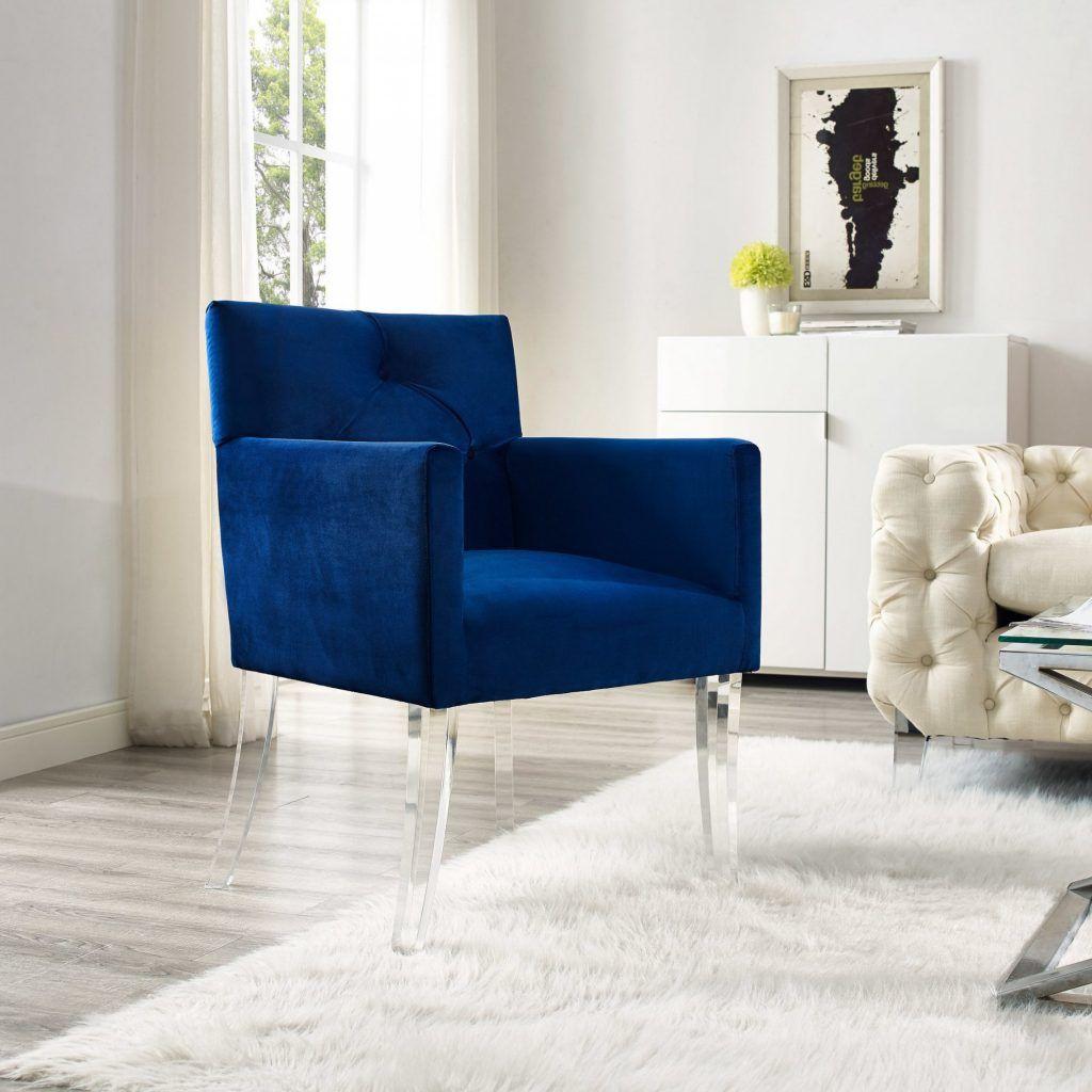 Chair Navy Blue Velvet Acrylic Accent Chair High Quality Acrylic