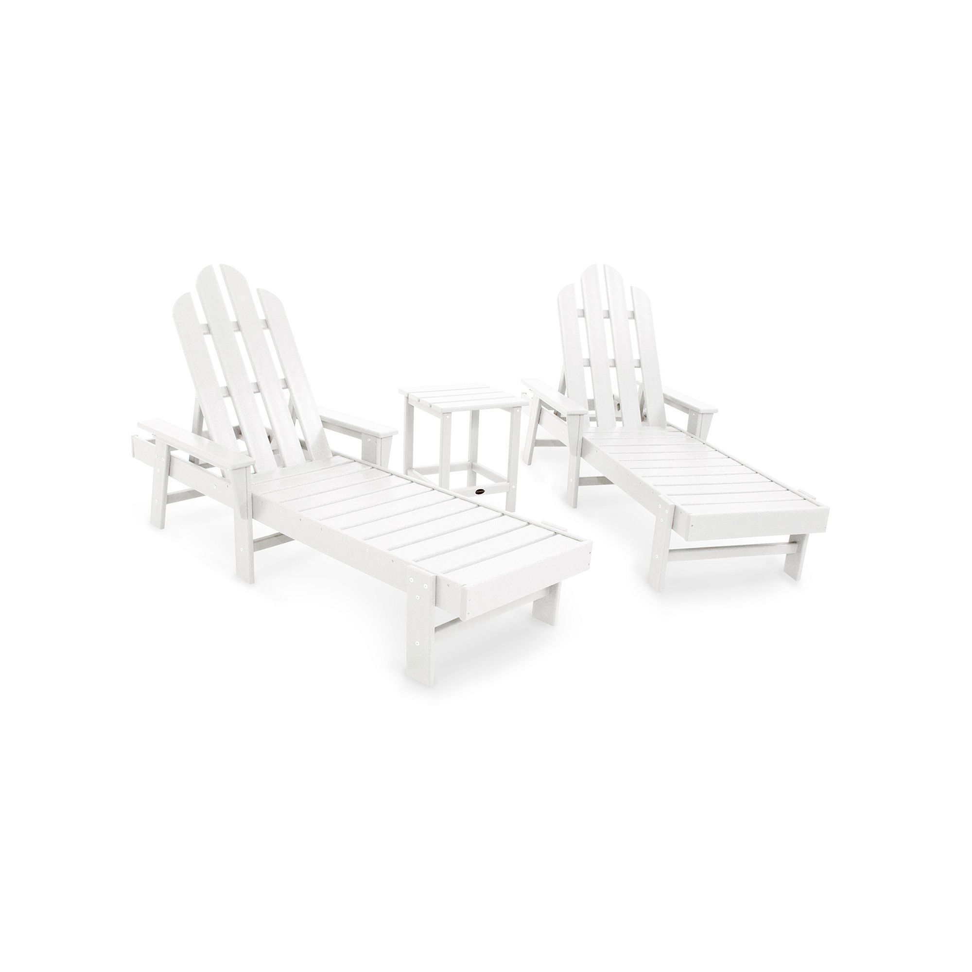 Polywood® 2 Piece Long Island Outdoor Chaise Lounge Chair U0026 Side Table Set,