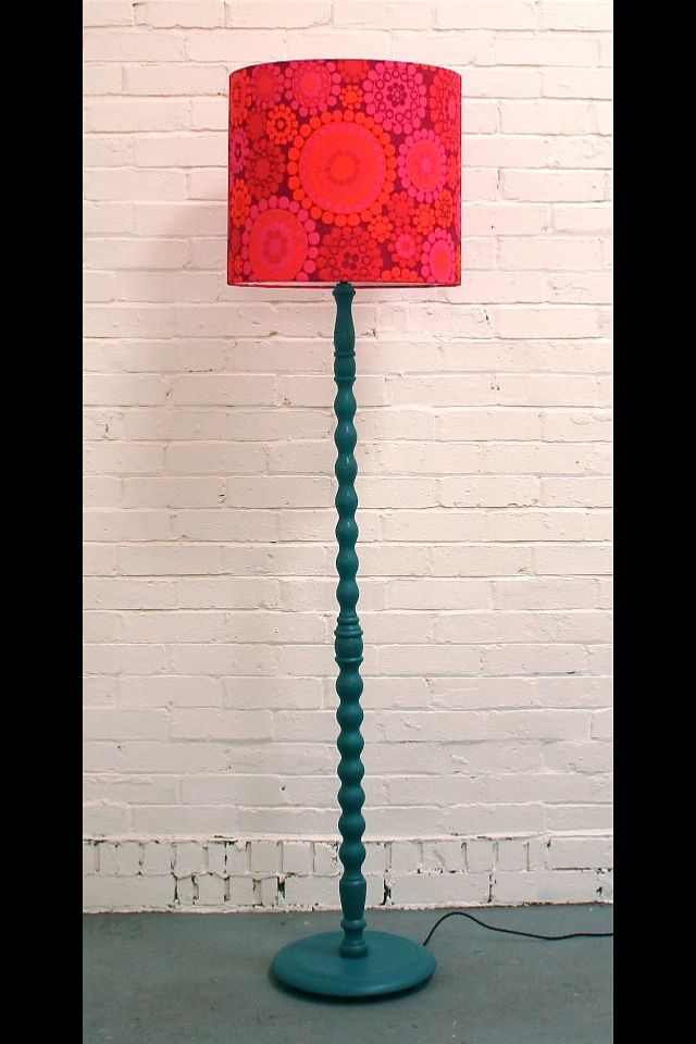 An upcycled vintage wooden standard lamp painted with funky shade